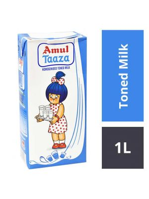 Amul Taaza Homogenised Toned Milk, 1 lt Carton