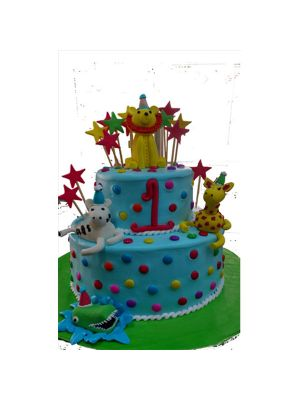 Blue-Gems Cartoon Cake