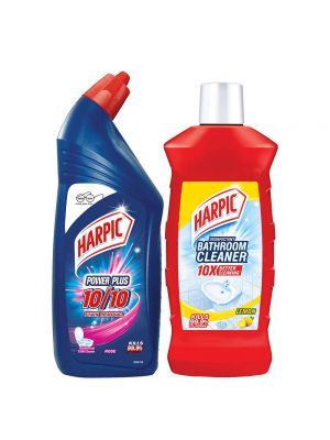 Harpic 500 ml Lemon Bathroom Cleaner & 500 ml Power Plus Regular Liquid Toilet Cleaner